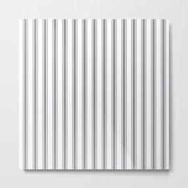 Gray blue ticking stripes Metal Print