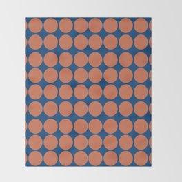 Orange Dots on Navy Throw Blanket