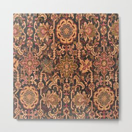 Floral Medallion I // 18th Century Colorful Blue Lime Green Pink Sapphire Plum Burlap Brown Pattern Metal Print