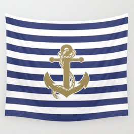 Sailor Stripes and Anchor Pattern Blue and Gold 21 Wall Tapestry