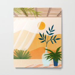 Sunset Desert Patio Metal Print