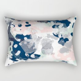 Melia - abstract minimal painting acrylic watercolor nursery mint navy pink Rectangular Pillow