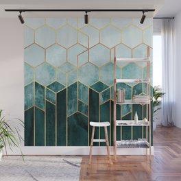 Teal Hexagons Wall Mural