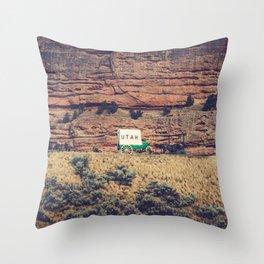 Utah Conestoga wagon State Line Welcome Center Mountain Throw Pillow