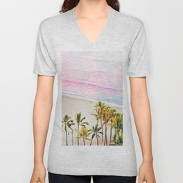 Pink Ocean, Pastel Tropical Coconut Palms, Travel Nature Landscape Summer Graphic Photography Unisex V-Neck