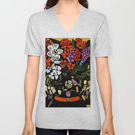 """Fuschia"" Woodblock Print by Margaret Preston Unisex V-Neck"
