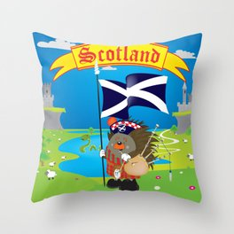 Greetings from Scotland Throw Pillow