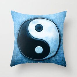 Yin Yang - Scratchy Blue Throw Pillow