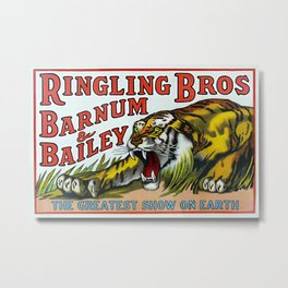 1938 Ringling Brothers and Barnum & Bailey Circus Tiger Act - Greatest Show on Earth Circus Poster Metal Print