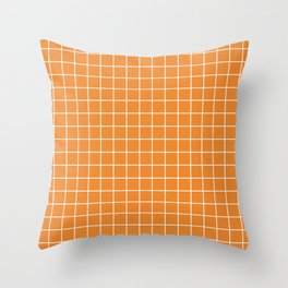 Cadmium orange - orange color - White Lines Grid Pattern Throw Pillow