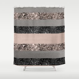 Blush Glitter Glam Stripes #1 #shiny #decor #art #society6 Shower Curtain
