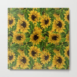 Vintage & Shabby Chic - Sunflowers Flowe Garden Metal Print