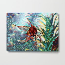 Aquamarine Goldfish Dream | Painting Metal Print