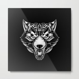 Angry Wolf Ornate Metal Print