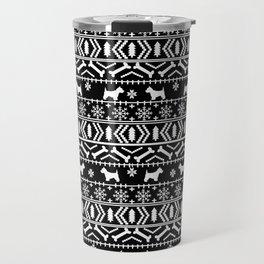 Westie fair isle west highland terrier christmas holiday gifts dog pattern black and white Travel Mug