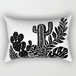 Botanical Pot Block Print Rectangular Pillow