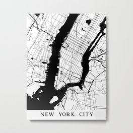 New York City Minimal Map Metal Print