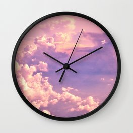 Whimsical Unicorn Lavender Clouds Wall Clock