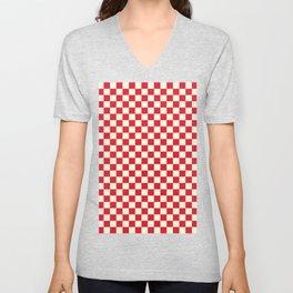 Cream Yellow and Crimson Red Checkerboard Unisex V-Neck