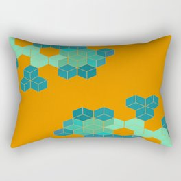 Blue Geometry Rectangular Pillow