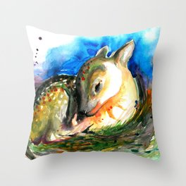 Baby Deer Sleeping - After My Original Watercolor On Heavy Paper Throw Pillow