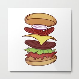 A Hamburger's Ingredients Stacked Together Metal Print