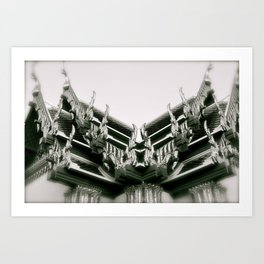 Ornate Rooftops at Wat Po Buddhist Temple in Bangkok Art Print