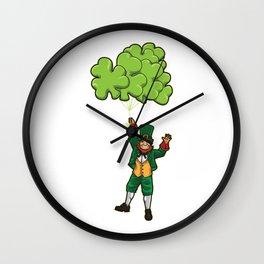 Leprechaun With Cloverleaf Balloons - Irish Fly Wall Clock