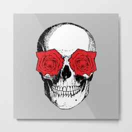 Skull and Roses | Skull and Flowers | Vintage Skull | Grey and Red | Metal Print