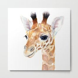 Baby Giraffe Cute Animal Watercolor Metal Print