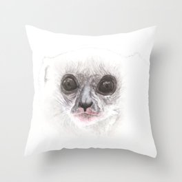 Silky Sifaka looking back Throw Pillow