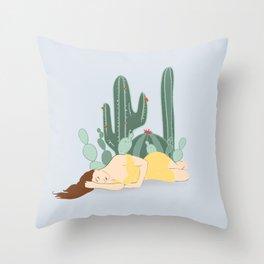 Cactus Nap Throw Pillow