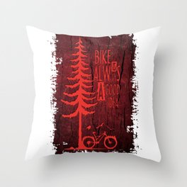 Red Bike Throw Pillow