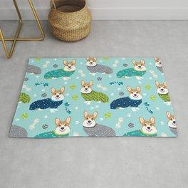 Corgi pajamas welsh corgi in pjs pattern print cute dog gifts custom dog portrait Rug