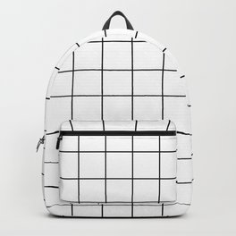 Grid Pattern Stripes Lines Black and White Minimalist Geometric Stripe Line Backpack
