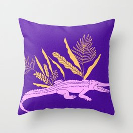 Pink Crocodile Throw Pillow