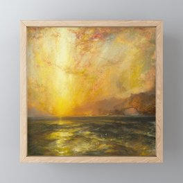 Golden Sunset and Sky over a Troubled Sea landscape painting by Thomas Moran Framed Mini Art Print