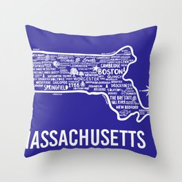 Massachusetts Map Throw Pillow