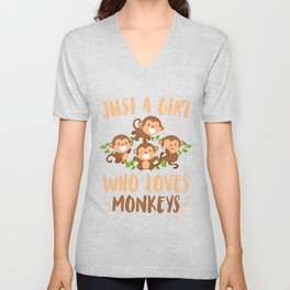 Girl Loves Monkeys Unisex V-Neck