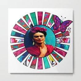 Kahlo Pink Sun Rays Metal Print