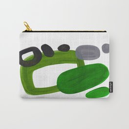 Mid Century Vintage 70's Design Abstract Minimalist Colorful Pop Art Olive Green Dark Green Grey Carry-All Pouch