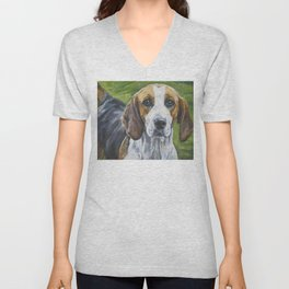 English Foxhound dog art portrait from an original painting by L.A.Shepard Unisex V-Neck