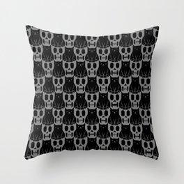 Skulls & Cats Dark Throw Pillow