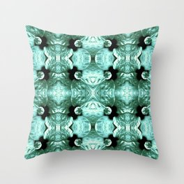 Shiny Green Flower Design, Pattern Throw Pillow