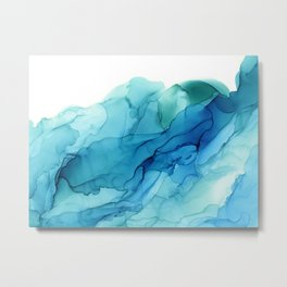 Emerald Sea Waves - Abstract Ombre Flowing Ink Metal Print