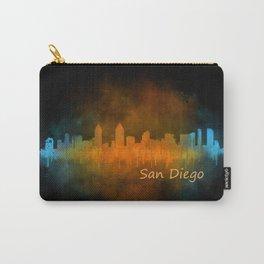 San Diego California City Skyline Watercolor v04 Drk Carry-All Pouch