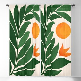 Tropical Forest Sunset / Mid Century Abstract Shapes Blackout Curtain
