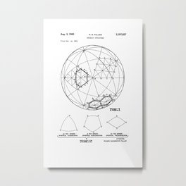 Buckminster Fuller 1961 Geodesic Structures Patent Metal Print