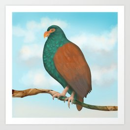 The Tooth-billed Pigeon (Little DODO) up on a Branch Art Print