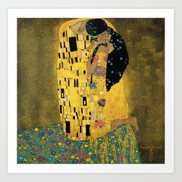 Curly version of The Kiss by Klimt Kunstdrucke